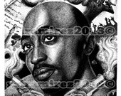 Tupac portrait pen and in...
