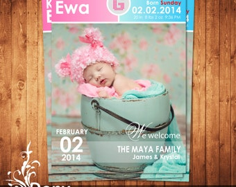 BUY 1 GET 1 FREE Birth Announcement - Neutral Baby Announcement Card - Photoshop Template Instant Download: cardcode-157