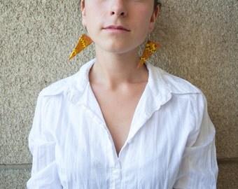 Polymer clay earrings Yellow earrings Brown earrings Spring earrings Dangle earrings OOAK earrings Triangle earrings Casual earrings