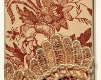 """Decorative Handmade iPhone 4/4s Hardshell Phone Case """"Toile & Lace"""" Copper Floral Toile Vintage Lace Lace"""