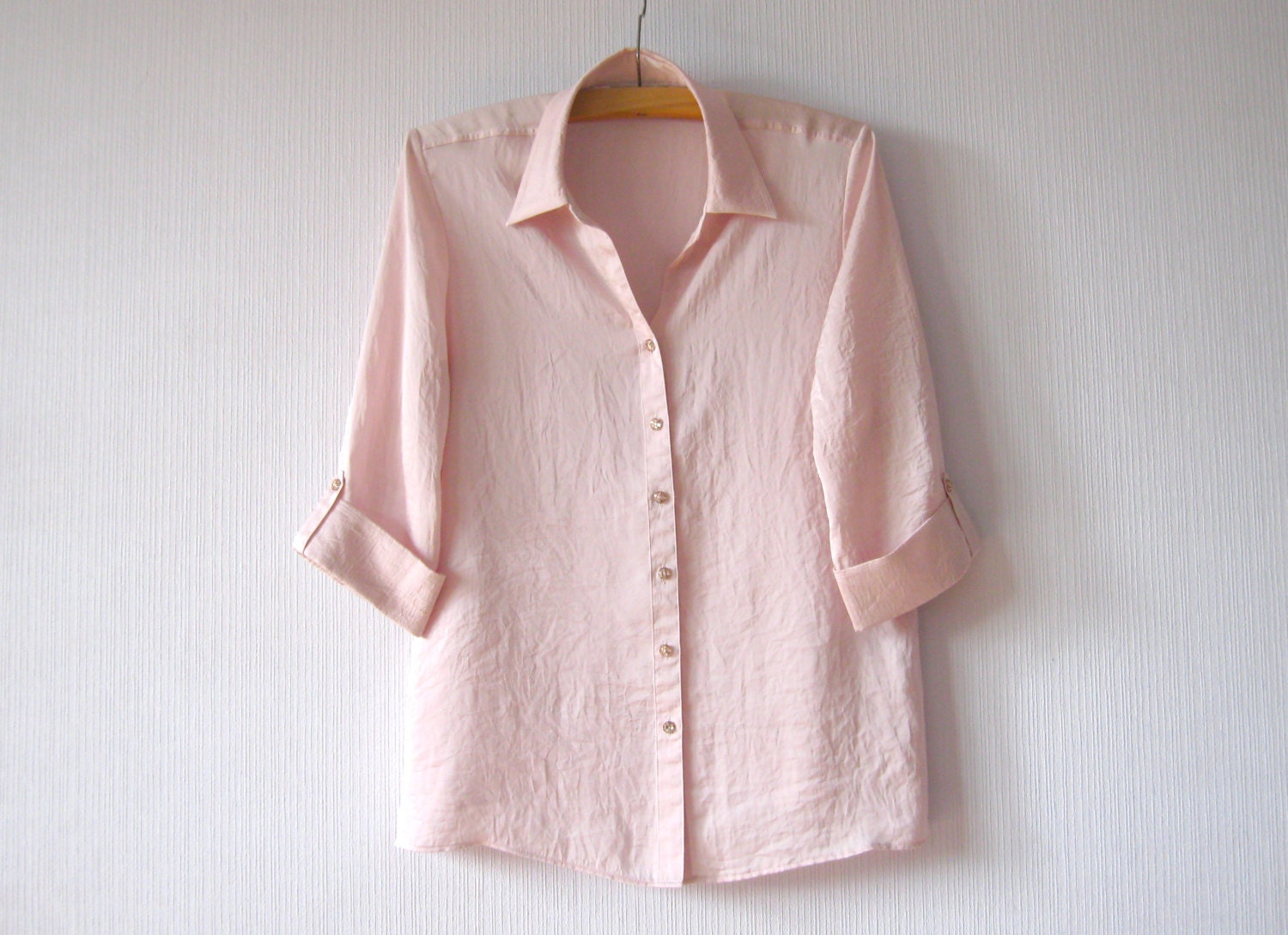 Womens Pale Pink Taffeta Blouse 50