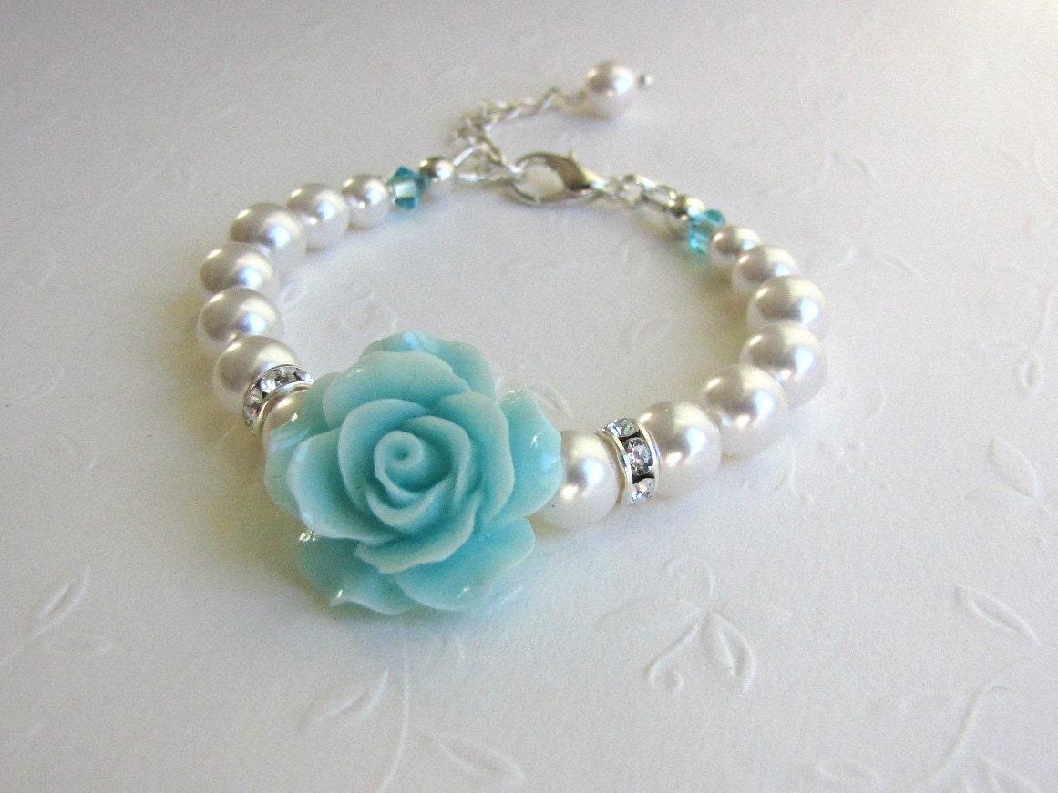 turquoise wedding flower gift flower bracelet