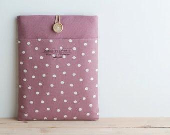 "15 inch Macbook Pro, Retina case 15"" Custom Laptop sleeve / Polka Dot Dusty Pale Pink"
