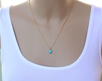 Heart Turquoise Necklace - Gold Plated Necklace