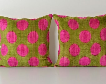 neon pink ikat pillowcase silk velvet ikat pillow