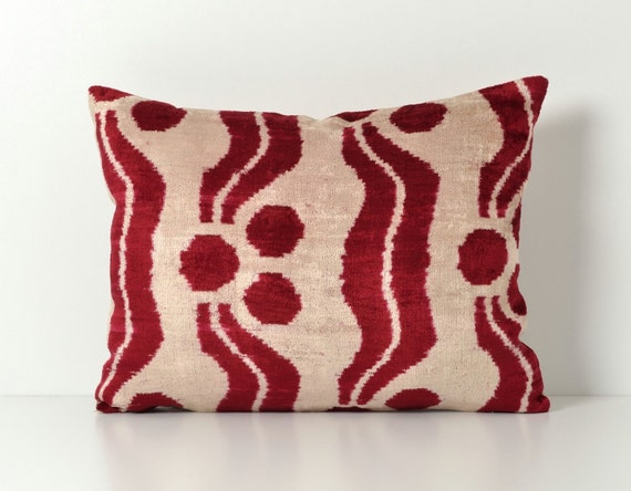 Red Silk Decorative Pillows : Ikat Pillow Red Silk Velvet Ikat Pillow Red Couch Pillow