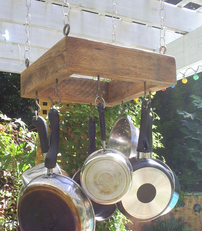 Rustic Wood Mini Pot Rack Pot Holder From Upcycled Oak