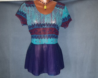 Ladies Empire Waist Sheer Boho Blue Sparkle Top sz L