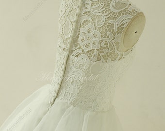Vintage knee length lace wedding dress,  lace prom dress with illusion neckline