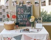 Wedding Bridal Shower Days until she's Mrs. Sign, Wedding Countdown display, modern chalkboard style Sign