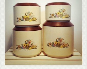 SALE----Set of 4 Vintage Nesting Canisters in Lovely Floral Patern