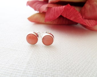 Teeny Tiny Sterling Silver and Coral earrings...dainty, simple and fun