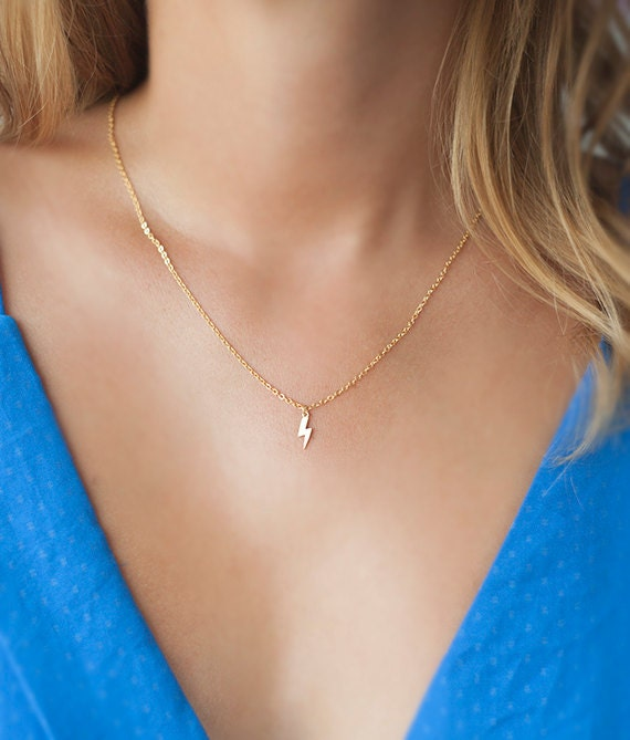 Lightning bolt charm necklace, tiny lightning necklace, delicate small jewelry