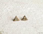 Stud earrings Earring Studs Geometric earrings Triangle Earring Studs Post earrings Brown and yellow earrings Modern earrings