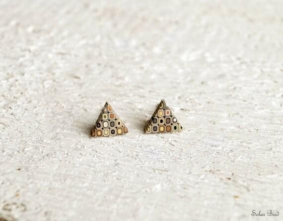 Geometric earrings - Triangle Earring Studs - Brown yellow -  Modern earrings