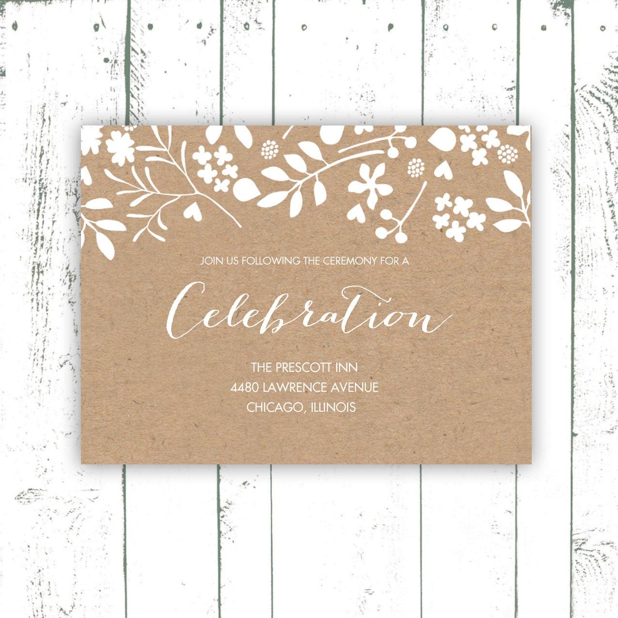Wedding Enclosure Card Kraft Paper Enclosure By MooseberryPaperCo