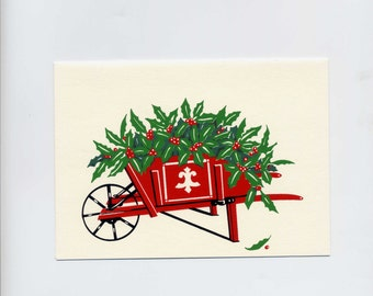 Christmas Cards Garden Wheelbarrow Silk Screen Greeting Cards Box of 12 by Audrey Ascenzo