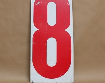 "Vintage Large 30""x13"" Gas Station Numbers- Number '8/0'- Vintage Home Decor"
