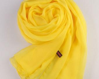 Yellow Silk Scarf - Yellow Mulberry Silk Chiffon Scarf - AS8