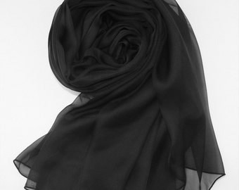 Black Silk Scarf - Pure Black Silk Chiffon Scarf - AS3