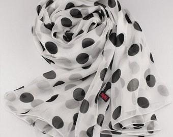 White Silk Chiffon Scarf with Large Polka Dot Print - Black Dot Printed Silk Scarf - AS33