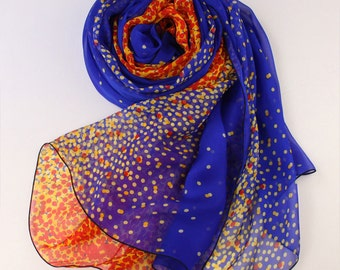 10% Off All Scarf Order > USD100 - Crystal Blue Silk Scarf with Orange Dot Print - Polka Dot Printed Blue and Orange Silk Scarf - AS53