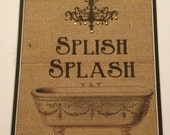 burlap vintage bath tub and rhinestone chandelier bathroom wall art Splish Splash