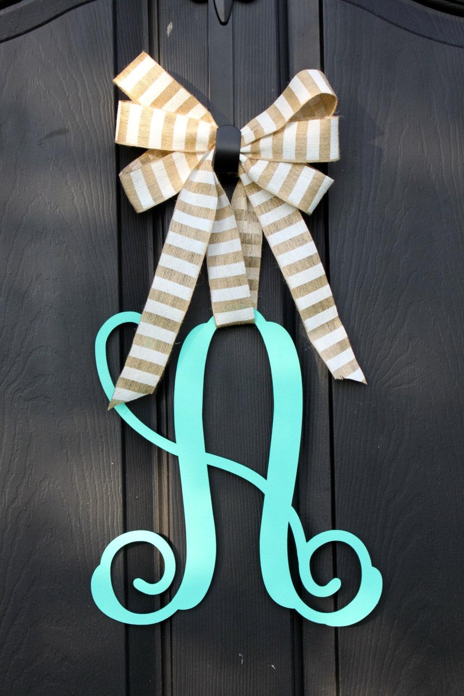 wooden monogram wooden door hanger wreath etsy by oursentiments