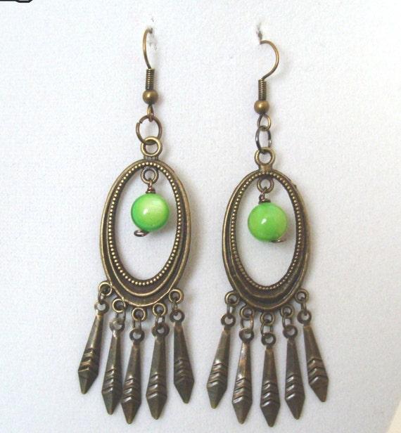 Green Chandelier Bead Earrings