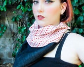 Queen of Hearts XL: White w/ Red Hearts & Daisy Stripes and Denim Reversible Stash Pocket Bandana by BandHäna
