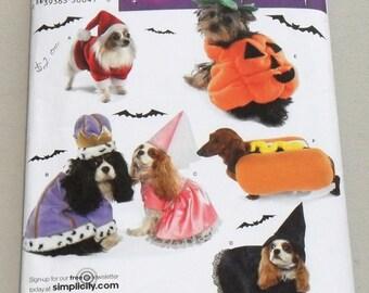 Dog Halloween Costumes, Santa, Pumpkin, Witch, Princess, King, Hot Dog, Simplicity Pattern 3952