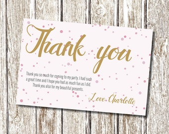 Pink and Gold Thank you card - Printable and Personalised