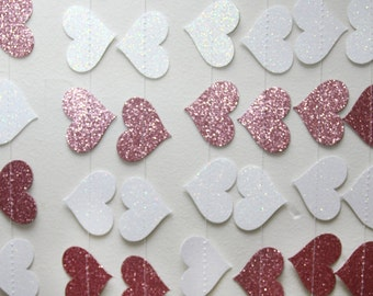 Pink and white glitter paper heart garland, wedding, party, decoration