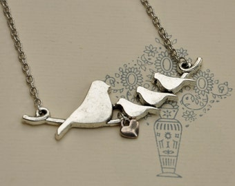 Silver Plated Love Birds on a Branch Necklace