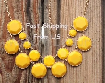 Statement necklace gift bubble Necklace Bib necklace Yellow necklace bead necklace for women Holiday gift Mother's day necklace jewlery