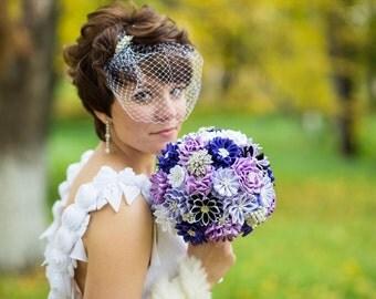 "Fabric Wedding Bouquet, brooch bouquet ""Lilac"", Purple"