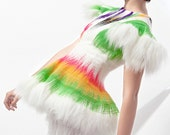 Ooak haute couture outstanding fake FUR short SLEEVE TOP west white pink lime black yellow purple top jacket