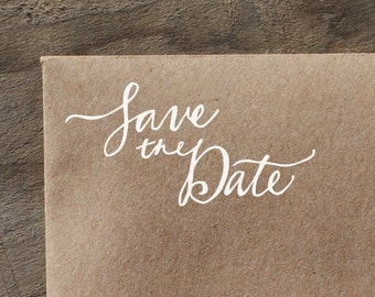 Save the Date, Hand Written Script Rubber Stamp