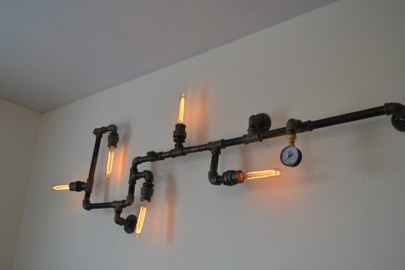 Industrial Pipe Wall Lights : Industrial Steampunk Pipe Wall Light by WestNinthVintage on Etsy