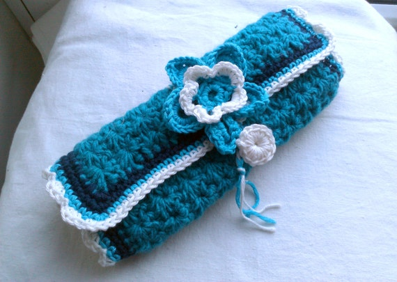 Turqouise blue Crochet Hook/Needle Case/Organizer