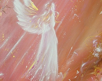 """Limited angel art poster """"met an angel"""", modern contemporary angel painting, artwork, print, glossy photo,"""