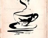 Coffee Cup, Black Brushstroke Art, Digital Download Art, Original transfer to Pillows, Burlap Bags, Tags, Print by Kathy Morton Stanion EBSQ