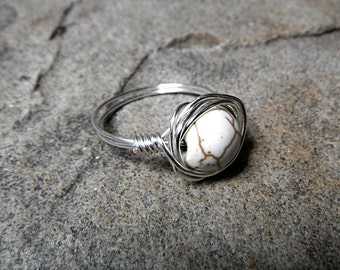 White Turquoise Ring, Wire Wrapped Ring, White Stone Ring, White Ring, Wire Wrapped Jewelry Handmade, Gemstone Ring, Howlite Ring