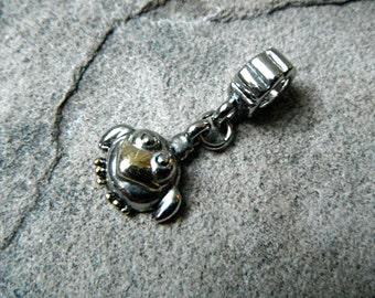 Baby Bird Charm, Bracelet Charm, Pugster Charm, Bird Jewelry, Baby Animal Charm, European Charm Bead, Silver Charm