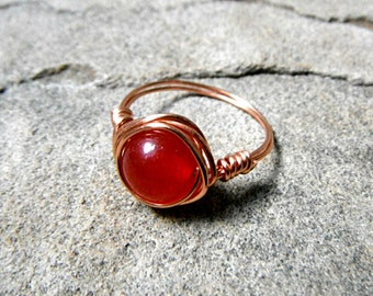 Cherry Red Jade Ring, Wire Wrapped Ring, Jade Stone Ring, Jade Wire Wrapped Ring, Wire Wrapped Jewelry Handmade, Copper Ring