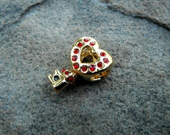 Heart Key Charm, Gold Heart Charm, Red Crystal Charm, Red Heart Charm, Bracelet Charm, European Charm Bead, Pugster Charm