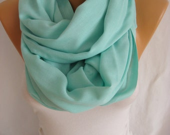 Mint Pashmina Oversize Pashmina Scarf Spring Scarf Shawl Bridesmaid Gift Wedding Shawl Mother's Day Gift -ESCHERPE