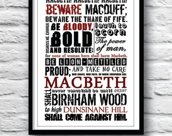 SHAKESPEARE Poster, Macbeth Poster, Shakespeare quote poster, Witches prophecies, Wall Decor, Typography poster