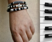 MUSIC TRIPLE BRACELET, Black and White Wool Bracelet, Music Note bead, Bohemian Hippie, Musician Bangle - CrazyFoxDesign