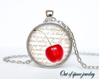 Cherry necklace Cherry necklace pendant Cherry jewelry fruit necklace